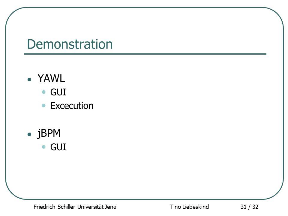 Friedrich-Schiller-Universität Jena Tino Liebeskind31 / 32 Demonstration YAWL GUI Excecution jBPM GUI