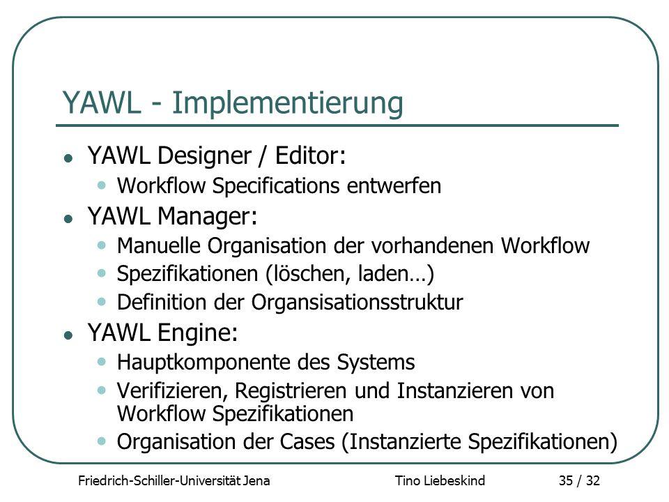 Friedrich-Schiller-Universität Jena Tino Liebeskind35 / 32 YAWL - Implementierung YAWL Designer / Editor: Workflow Specifications entwerfen YAWL Manag
