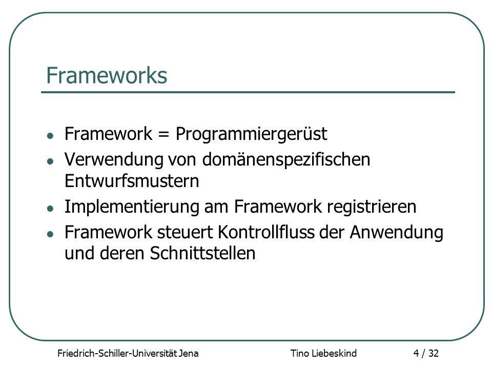 Friedrich-Schiller-Universität Jena Tino Liebeskind35 / 32 YAWL - Implementierung YAWL Designer / Editor: Workflow Specifications entwerfen YAWL Manager: Manuelle Organisation der vorhandenen Workflow Spezifikationen (löschen, laden…) Definition der Organsisationsstruktur YAWL Engine: Hauptkomponente des Systems Verifizieren, Registrieren und Instanzieren von Workflow Spezifikationen Organisation der Cases (Instanzierte Spezifikationen)