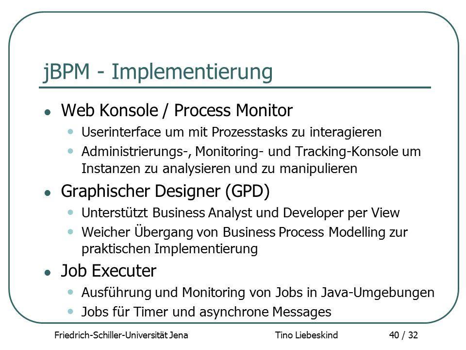 Friedrich-Schiller-Universität Jena Tino Liebeskind40 / 32 jBPM - Implementierung Web Konsole / Process Monitor Userinterface um mit Prozesstasks zu i