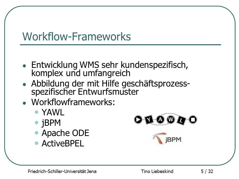 """Friedrich-Schiller-Universität Jena Tino Liebeskind36 / 32 YAWL - Implementierung YAWL Repository: Menge von """"runnable WF Spezifikationen YAWL Worklisthandler (INBOX): User sieht in der Worklist, was er zu tun hat Bei Beendigung wird System benachrichtigt YAWL Webservicebroker: Vermittler zwischen der Engine und externen Web Services YAWL Interopbroker: Schnittstelle zu anderen Workflow Engines"""