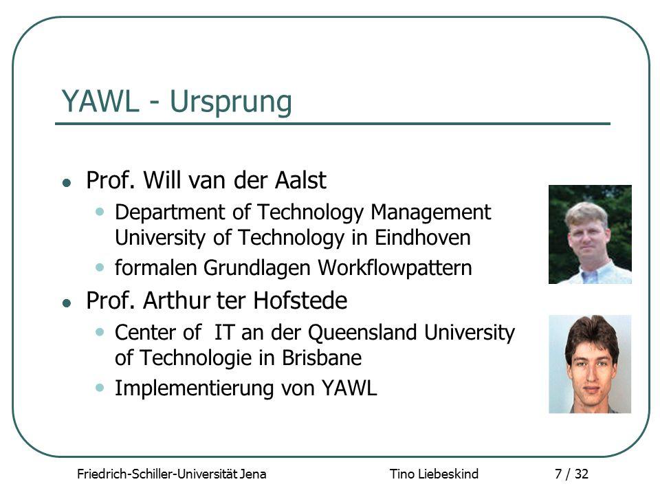 Friedrich-Schiller-Universität Jena Tino Liebeskind18 / 32 YAWL - Resümee Vorteile + sehr gut dokumentiert + benutzerfreundlich (Editor und Browser) + leistungsfähig, allgemein (XML) Nachteile - operationale Perspektive - Datenperspektive - nicht komplett implementiert