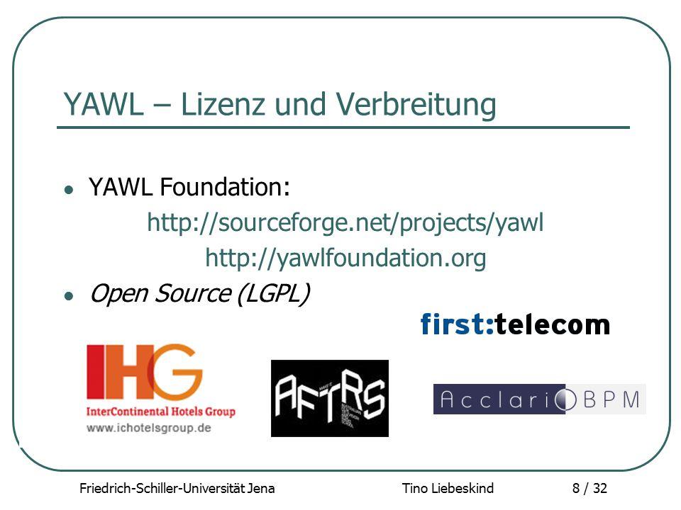 Friedrich-Schiller-Universität Jena Tino Liebeskind8 / 32 YAWL – Lizenz und Verbreitung YAWL Foundation : http://sourceforge.net/projects/yawl http://