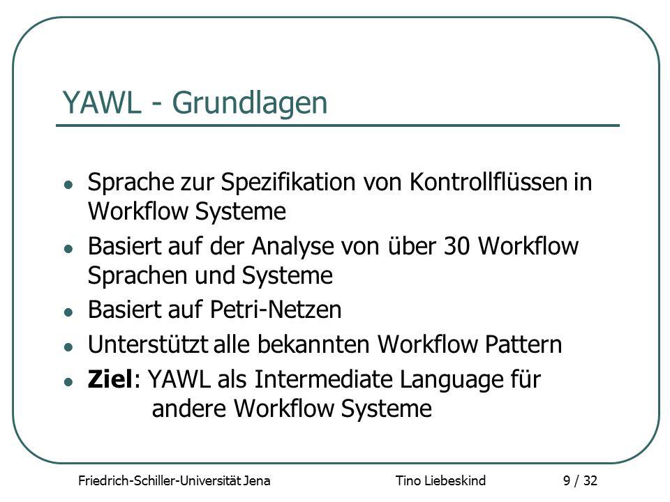 Friedrich-Schiller-Universität Jena Tino Liebeskind10 / 32 YAWL - Funktionsumfang Unterstützt komplexe Ressourcenzuweisung Unterstützt Validierung des Workflow Modells XML- basierte Daten-/ Schnittstellendefinition XML- basierte Überwachung und Steuerung automatisierte Formulargenerierung Hauptbestandteile: - Ausführungsengine - Graphischer Editor - Worklist Handler