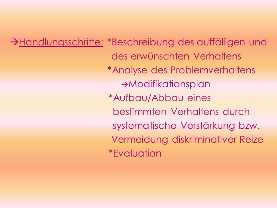  Handlungsschritte: *Beschreibung des auffälligen und des erwünschten Verhaltens *Analyse des Problemverhaltens  Modifikationsplan *Aufbau/Abbau eines bestimmten Verhaltens durch systematische Verstärkung bzw.