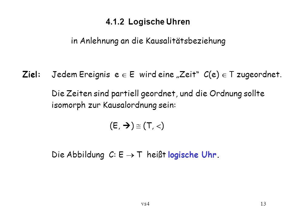 """vs413 4.1.2 Logische Uhren in Anlehnung an die Kausalitätsbeziehung Ziel:Jedem Ereignis e  E wird eine """"Zeit"""" C(e)  T zugeordnet. Die Zeiten sind pa"""