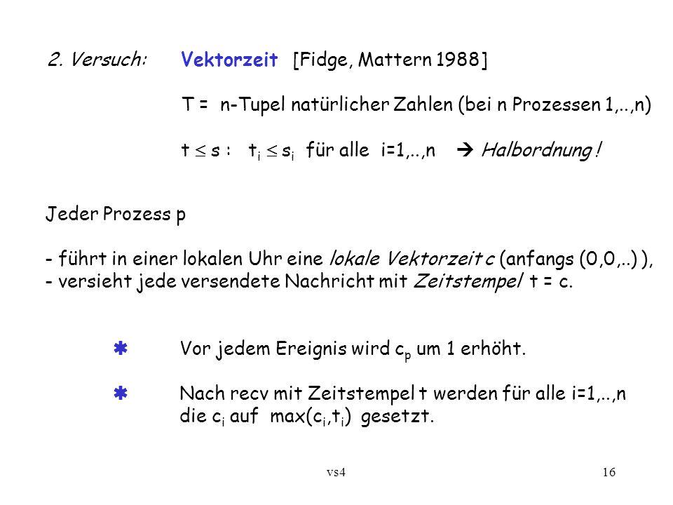vs416 2. Versuch:Vektorzeit [Fidge, Mattern 1988] T = n-Tupel natürlicher Zahlen (bei n Prozessen 1,..,n) t  s : t i  s i für alle i=1,..,n  Halbor