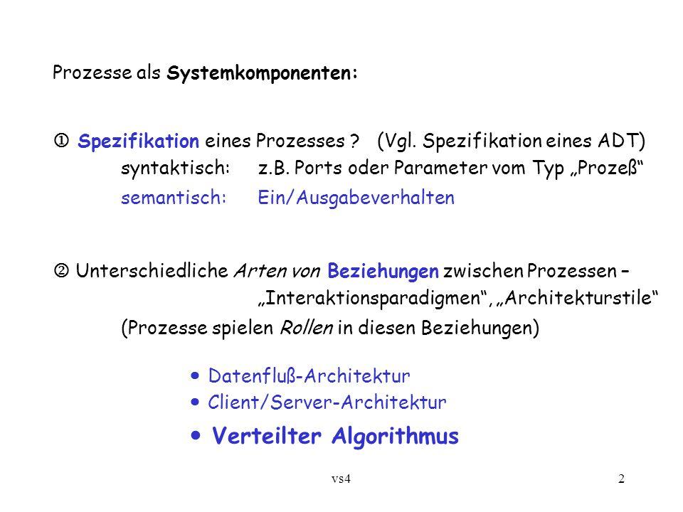 """vs42 Prozesse als Systemkomponenten:  Spezifikation eines Prozesses ? (Vgl. Spezifikation eines ADT) syntaktisch:z.B. Ports oder Parameter vom Typ """"P"""