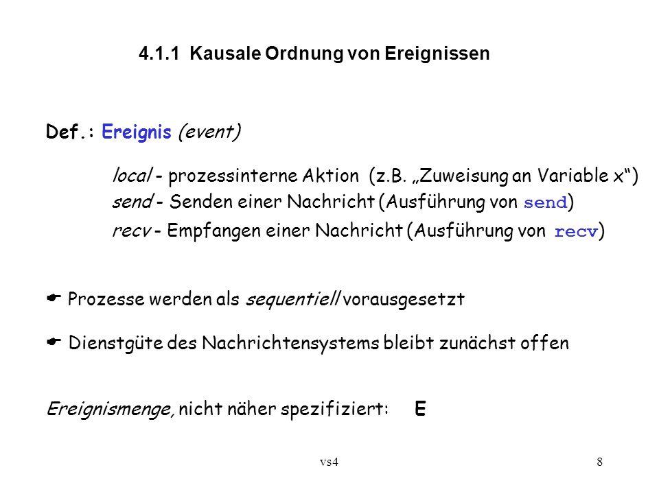 """vs48 4.1.1 Kausale Ordnung von Ereignissen Def.: Ereignis(event) local - prozessinterne Aktion (z.B. """"Zuweisung an Variable x"""") send - Senden einer Na"""