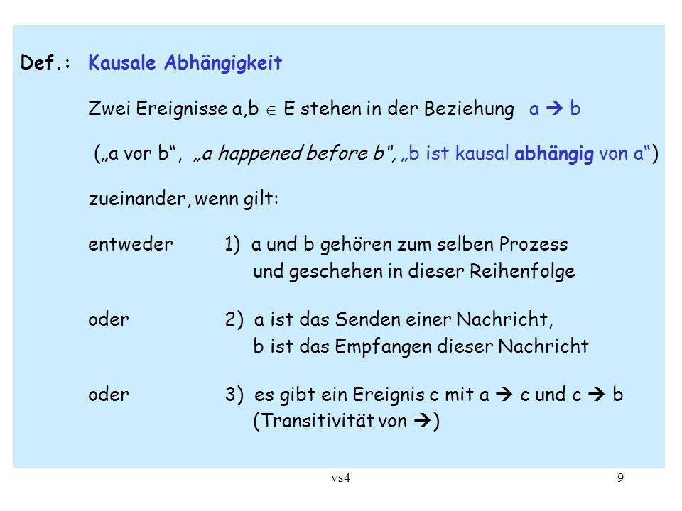 """vs49 Def.: Kausale Abhängigkeit Zwei Ereignisse a,b  E stehen in der Beziehung a  b (""""a vor b"""", """"a happened before b"""", """"b ist kausal abhängig von a"""""""