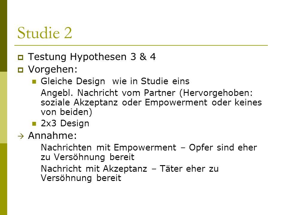Studie 2  Testung Hypothesen 3 & 4  Vorgehen: Gleiche Design wie in Studie eins Angebl. Nachricht vom Partner (Hervorgehoben: soziale Akzeptanz oder