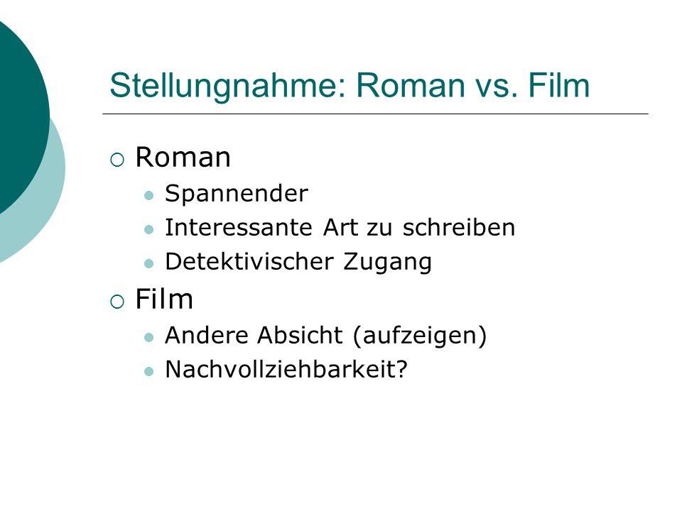Stellungnahme: Roman vs.