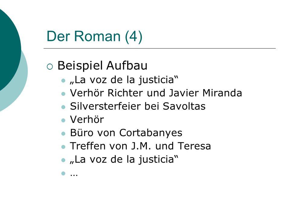 """Der Roman (4)  Beispiel Aufbau """"La voz de la justicia Verhör Richter und Javier Miranda Silversterfeier bei Savoltas Verhör Büro von Cortabanyes Treffen von J.M."""