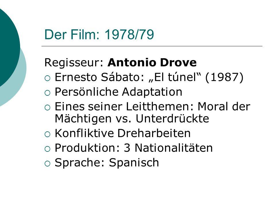 """Der Film: 1978/79 Regisseur: Antonio Drove  Ernesto Sábato: """"El túnel (1987)  Persönliche Adaptation  Eines seiner Leitthemen: Moral der Mächtigen vs."""