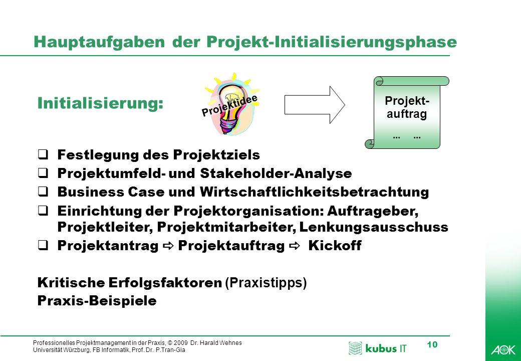Professionelles Projektmanagement in der Praxis, © 2009 Dr. Harald Wehnes Universität Würzburg, FB Informatik, Prof. Dr. P.Tran-Gia 10 Hauptaufgaben d