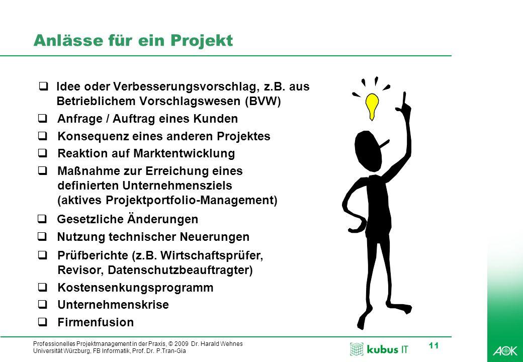 Professionelles Projektmanagement in der Praxis, © 2009 Dr. Harald Wehnes Universität Würzburg, FB Informatik, Prof. Dr. P.Tran-Gia 11 Anlässe für ein