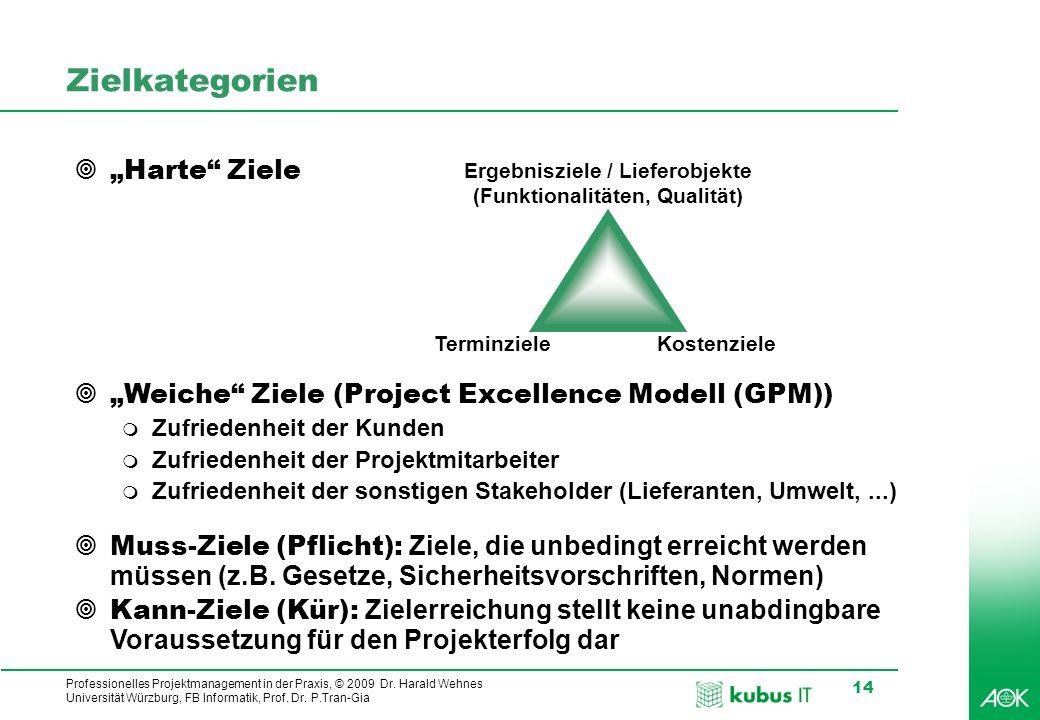 Professionelles Projektmanagement in der Praxis, © 2009 Dr. Harald Wehnes Universität Würzburg, FB Informatik, Prof. Dr. P.Tran-Gia 14 Zielkategorien