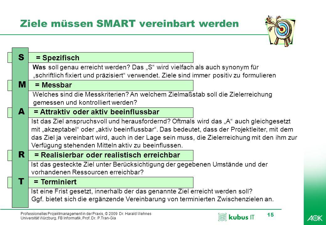 Professionelles Projektmanagement in der Praxis, © 2009 Dr. Harald Wehnes Universität Würzburg, FB Informatik, Prof. Dr. P.Tran-Gia 15 S = Spezifisch