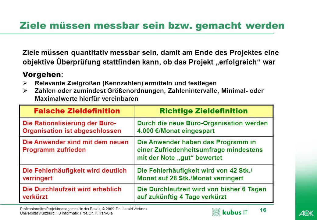 Professionelles Projektmanagement in der Praxis, © 2009 Dr. Harald Wehnes Universität Würzburg, FB Informatik, Prof. Dr. P.Tran-Gia 16 Ziele müssen me