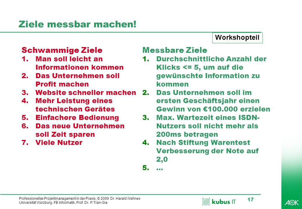 Professionelles Projektmanagement in der Praxis, © 2009 Dr. Harald Wehnes Universität Würzburg, FB Informatik, Prof. Dr. P.Tran-Gia 17 Ziele messbar m