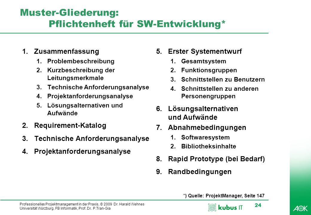 Professionelles Projektmanagement in der Praxis, © 2009 Dr. Harald Wehnes Universität Würzburg, FB Informatik, Prof. Dr. P.Tran-Gia 24 Muster-Gliederu