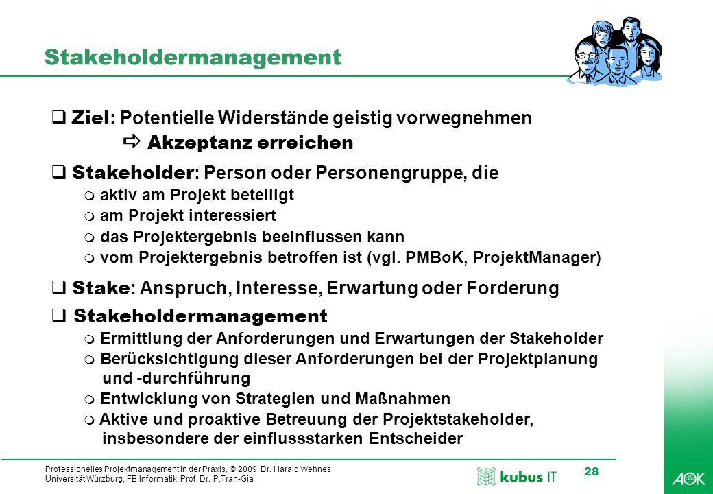 Professionelles Projektmanagement in der Praxis, © 2009 Dr. Harald Wehnes Universität Würzburg, FB Informatik, Prof. Dr. P.Tran-Gia 28 Stakeholdermana