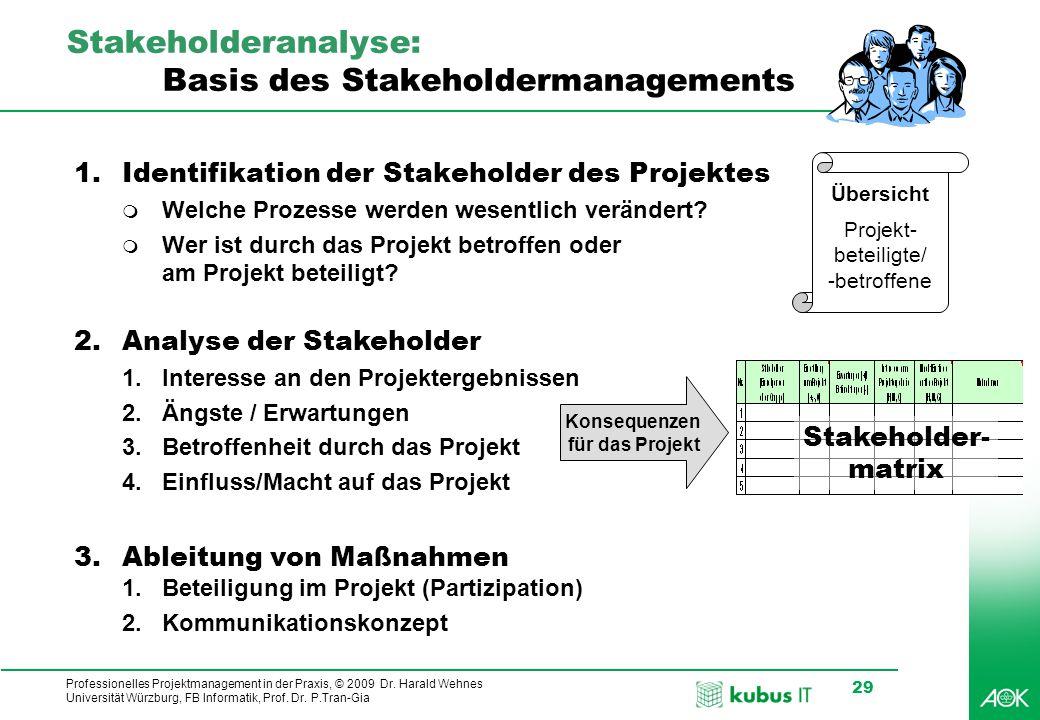 Professionelles Projektmanagement in der Praxis, © 2009 Dr. Harald Wehnes Universität Würzburg, FB Informatik, Prof. Dr. P.Tran-Gia 29 Stakeholderanal