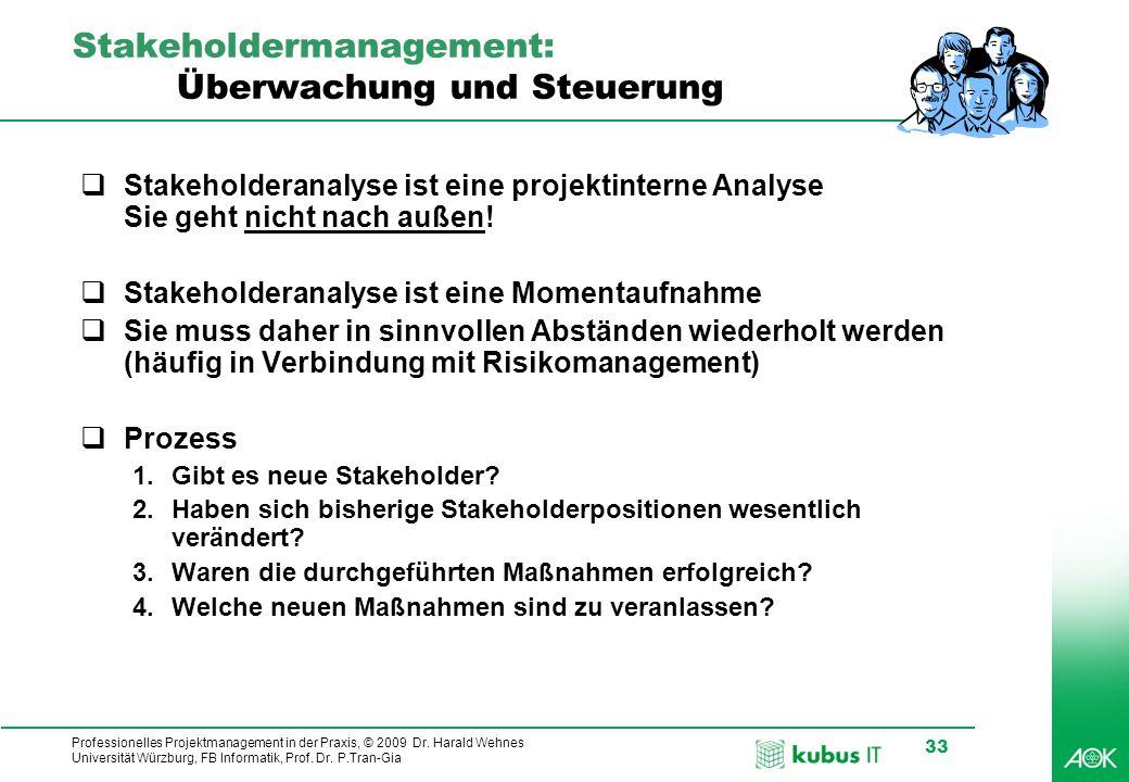 Professionelles Projektmanagement in der Praxis, © 2009 Dr. Harald Wehnes Universität Würzburg, FB Informatik, Prof. Dr. P.Tran-Gia 33 Stakeholdermana