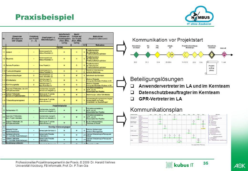 Professionelles Projektmanagement in der Praxis, © 2009 Dr. Harald Wehnes Universität Würzburg, FB Informatik, Prof. Dr. P.Tran-Gia 35 Praxisbeispiel