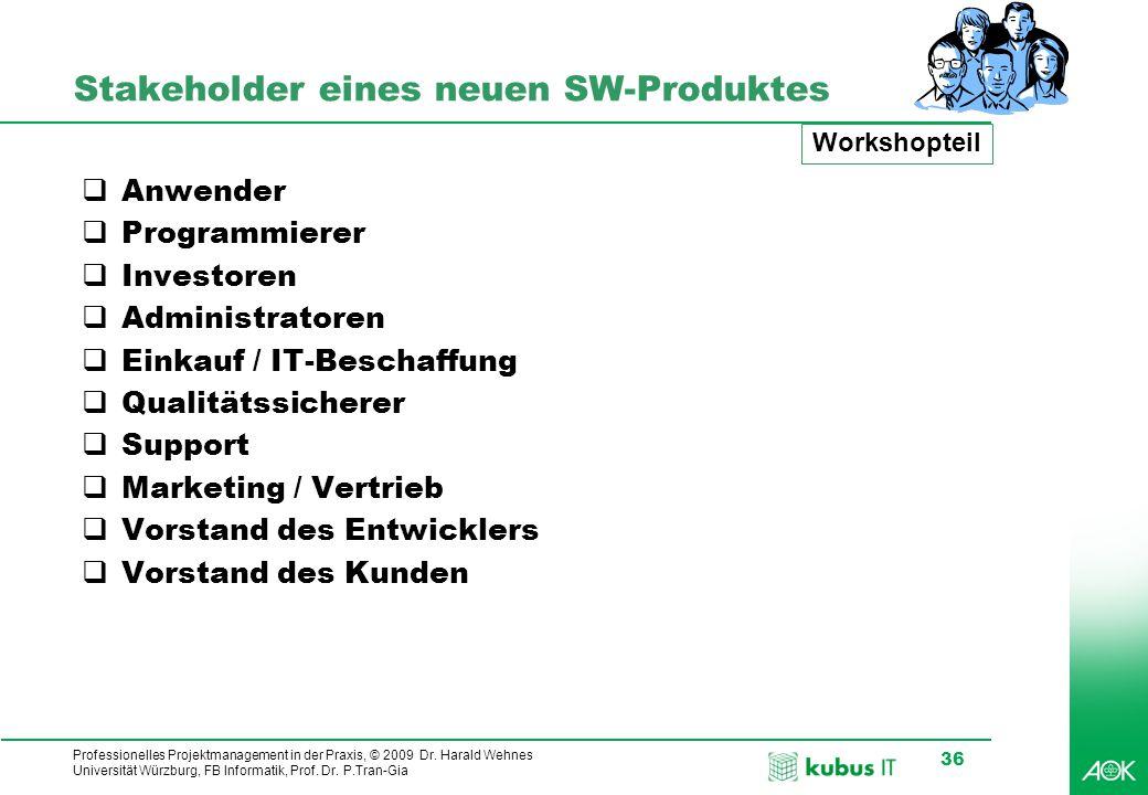 Professionelles Projektmanagement in der Praxis, © 2009 Dr. Harald Wehnes Universität Würzburg, FB Informatik, Prof. Dr. P.Tran-Gia 36 Stakeholder ein
