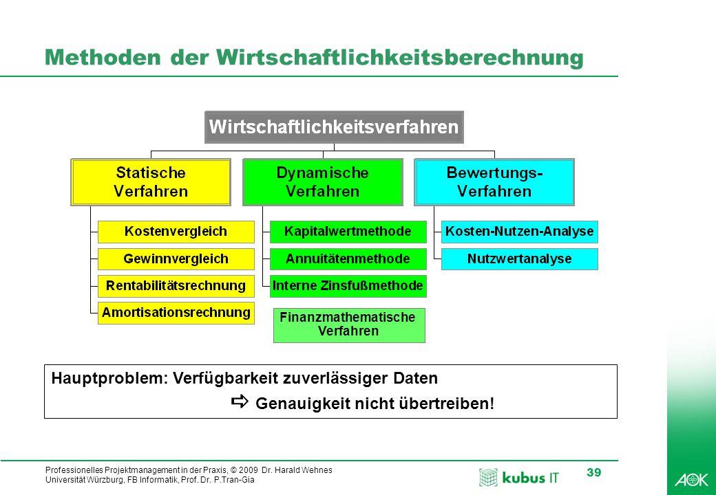 Professionelles Projektmanagement in der Praxis, © 2009 Dr. Harald Wehnes Universität Würzburg, FB Informatik, Prof. Dr. P.Tran-Gia 39 Methoden der Wi