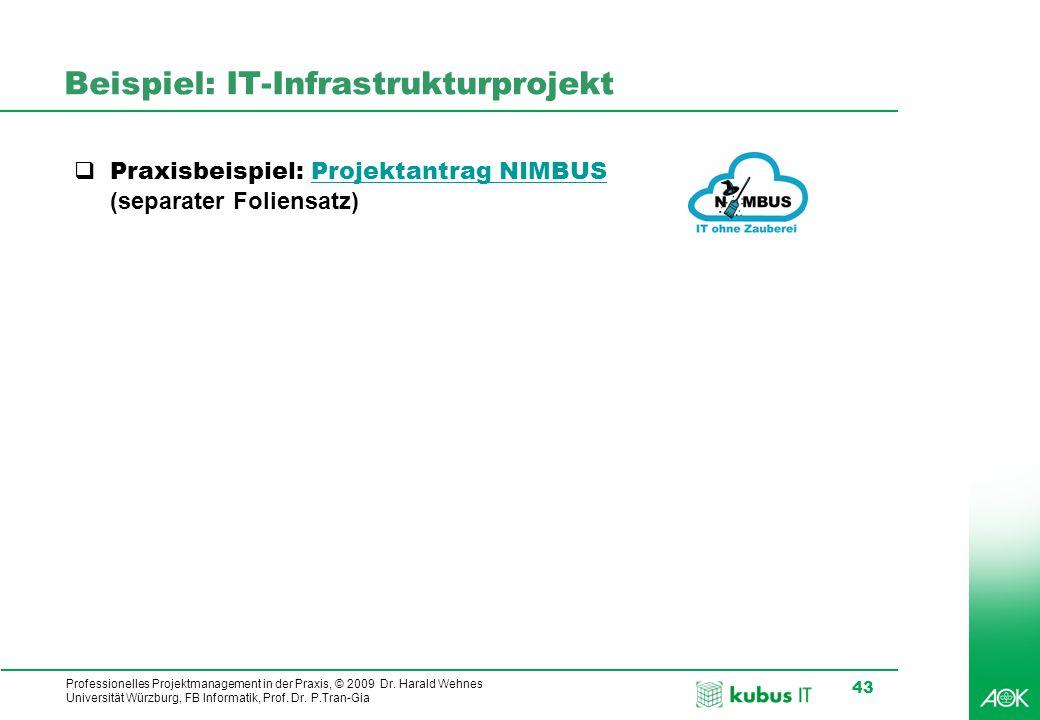 Professionelles Projektmanagement in der Praxis, © 2009 Dr. Harald Wehnes Universität Würzburg, FB Informatik, Prof. Dr. P.Tran-Gia 43 Beispiel: IT-In