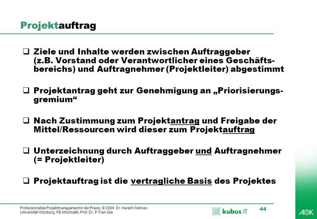 Professionelles Projektmanagement in der Praxis, © 2009 Dr. Harald Wehnes Universität Würzburg, FB Informatik, Prof. Dr. P.Tran-Gia 44 Projektauftrag