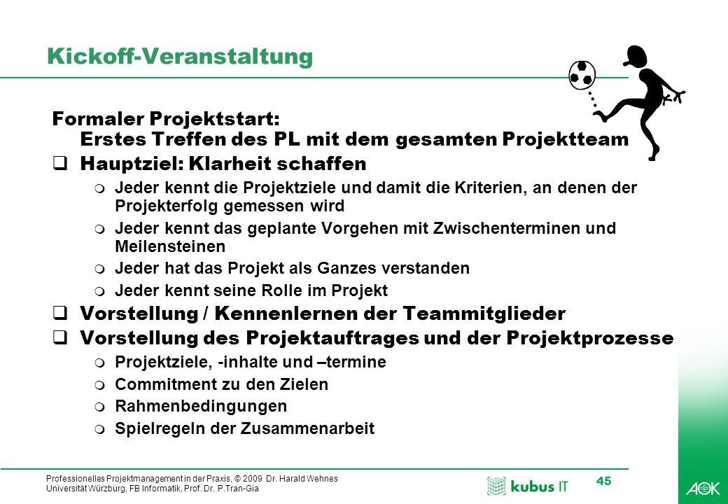Professionelles Projektmanagement in der Praxis, © 2009 Dr. Harald Wehnes Universität Würzburg, FB Informatik, Prof. Dr. P.Tran-Gia 45 Kickoff-Veranst