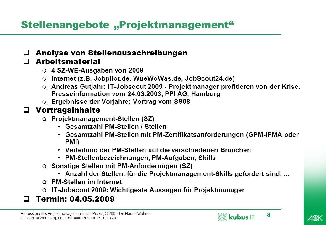 Professionelles Projektmanagement in der Praxis, © 2009 Dr. Harald Wehnes Universität Würzburg, FB Informatik, Prof. Dr. P.Tran-Gia 8 Stellenangebote