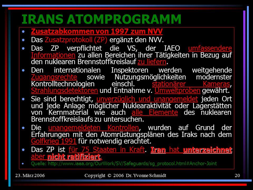 23. März 2006Copyright © 2006 Dr. Yvonne Schmidt19 IRANS ATOMPROGRAMM Sicherungsmaßnahmen (Safeguards) der IAEO( Art. 3 NVV) ÜberprüfungssystemDas Übe