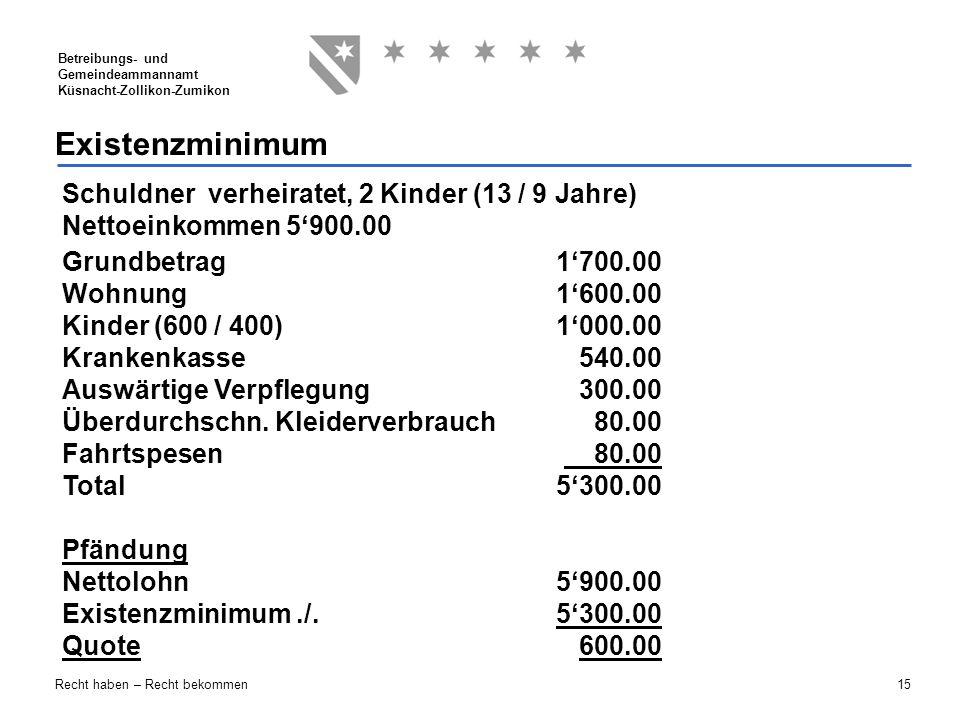 15 Betreibungs- und Gemeindeammannamt Küsnacht-Zollikon-Zumikon Recht haben – Recht bekommen Existenzminimum Schuldner verheiratet, 2 Kinder (13 / 9 J