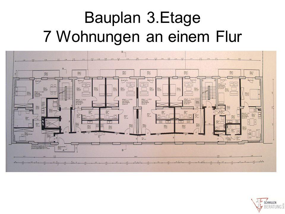 Bauplan 3.Etage 7 Wohnungen an einem Flur