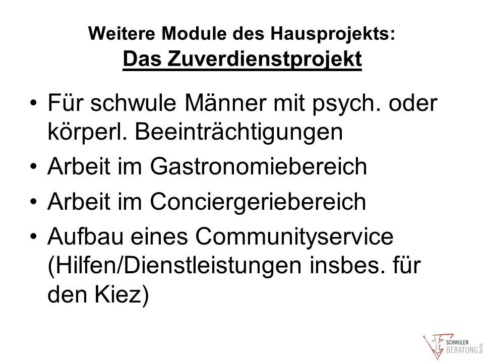 Weitere Module des Hausprojekts: Das Zuverdienstprojekt Für schwule Männer mit psych.