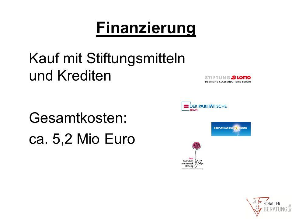 Finanzierung Kauf mit Stiftungsmitteln und Krediten Gesamtkosten: ca. 5,2 Mio Euro