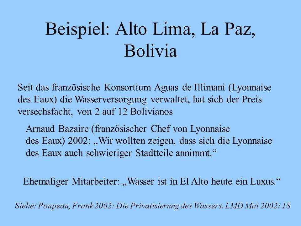 Beispiel: Alto Lima, La Paz, Bolivia Seit das französische Konsortium Aguas de Illimani (Lyonnaise des Eaux) die Wasserversorgung verwaltet, hat sich