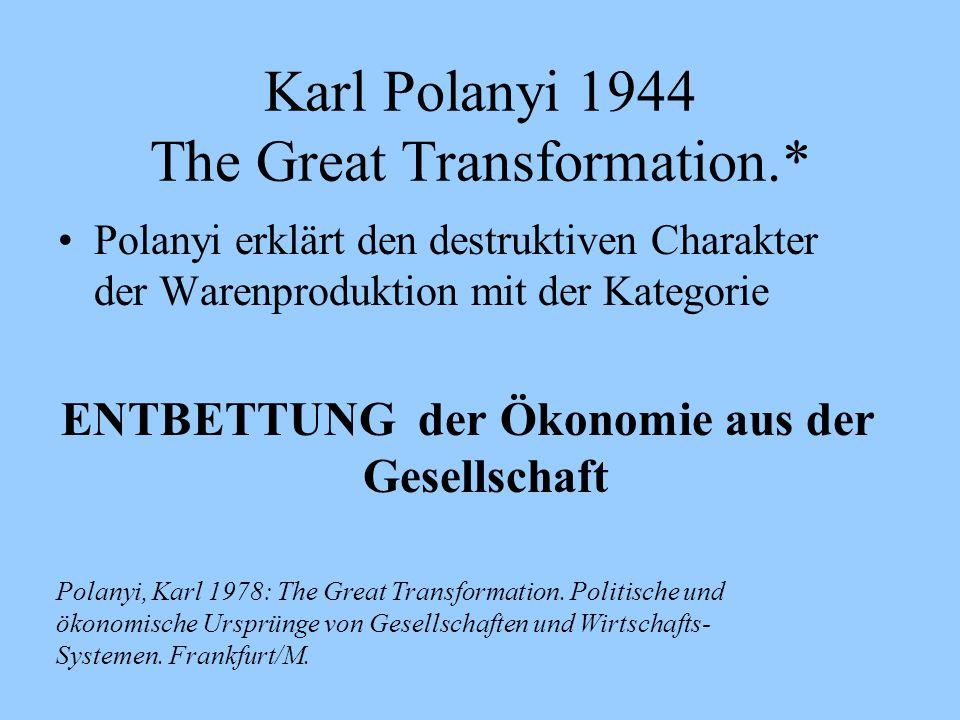 Karl Polanyi 1944 The Great Transformation.* Polanyi erklärt den destruktiven Charakter der Warenproduktion mit der Kategorie ENTBETTUNG der Ökonomie