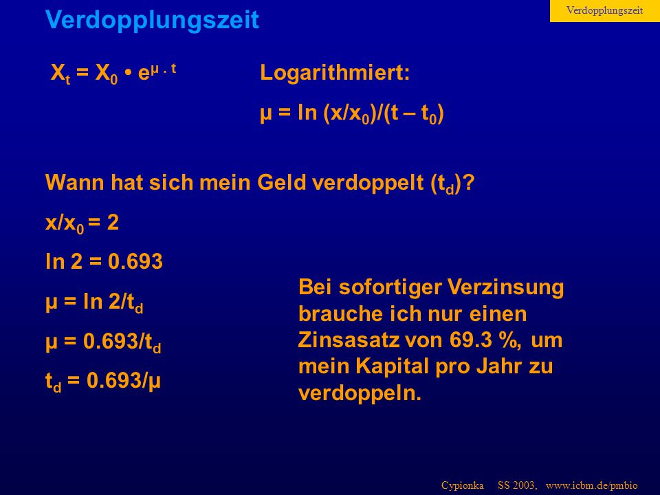Cypionka SS 2003, www.icbm.de/pmbio X t = X 0 e µ. t Logarithmiert: µ = ln (x/x 0 )/(t – t 0 ) Wann hat sich mein Geld verdoppelt (t d )? x/x 0 = 2 ln
