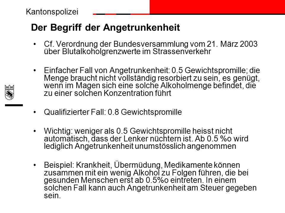Kantonspolizei Der Begriff der Angetrunkenheit Cf.