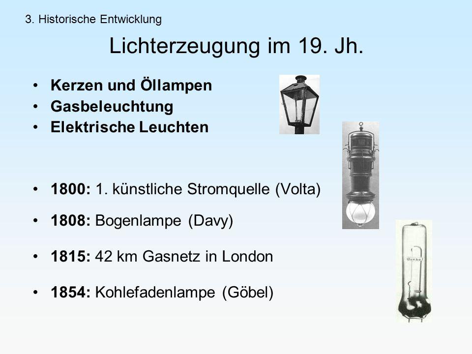 Lichterzeugung im 19.Jh. Kerzen und Öllampen Gasbeleuchtung Elektrische Leuchten 1800: 1.