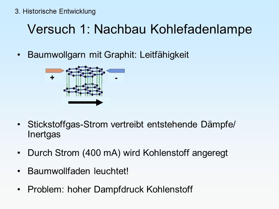 Versuch 1: Nachbau Kohlefadenlampe Baumwollgarn mit Graphit: Leitfähigkeit Stickstoffgas-Strom vertreibt entstehende Dämpfe/ Inertgas Durch Strom (400 mA) wird Kohlenstoff angeregt Baumwollfaden leuchtet.