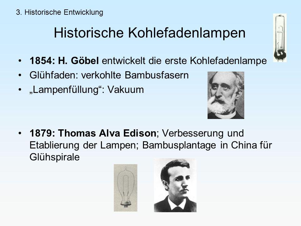 Historische Kohlefadenlampen 1854: H.