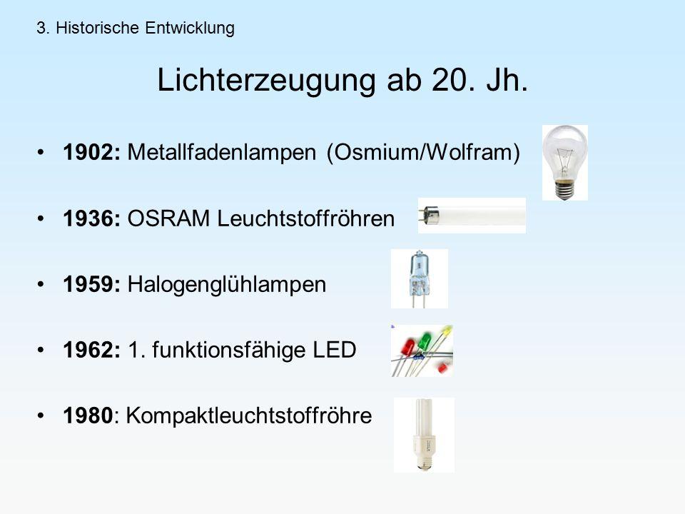 1902: Metallfadenlampen (Osmium/Wolfram) 1936: OSRAM Leuchtstoffröhren 1959: Halogenglühlampen 1962: 1.