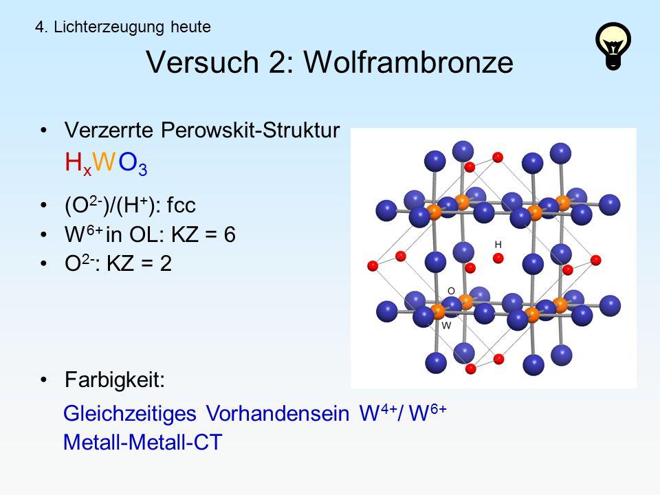 Versuch 2: Wolframbronze Verzerrte Perowskit-Struktur H x WO 3 (O 2- )/(H + ): fcc W 6+ in OL: KZ = 6 O 2- : KZ = 2 Farbigkeit: Gleichzeitiges Vorhandensein W 4+ / W 6+ Metall-Metall-CT 4.