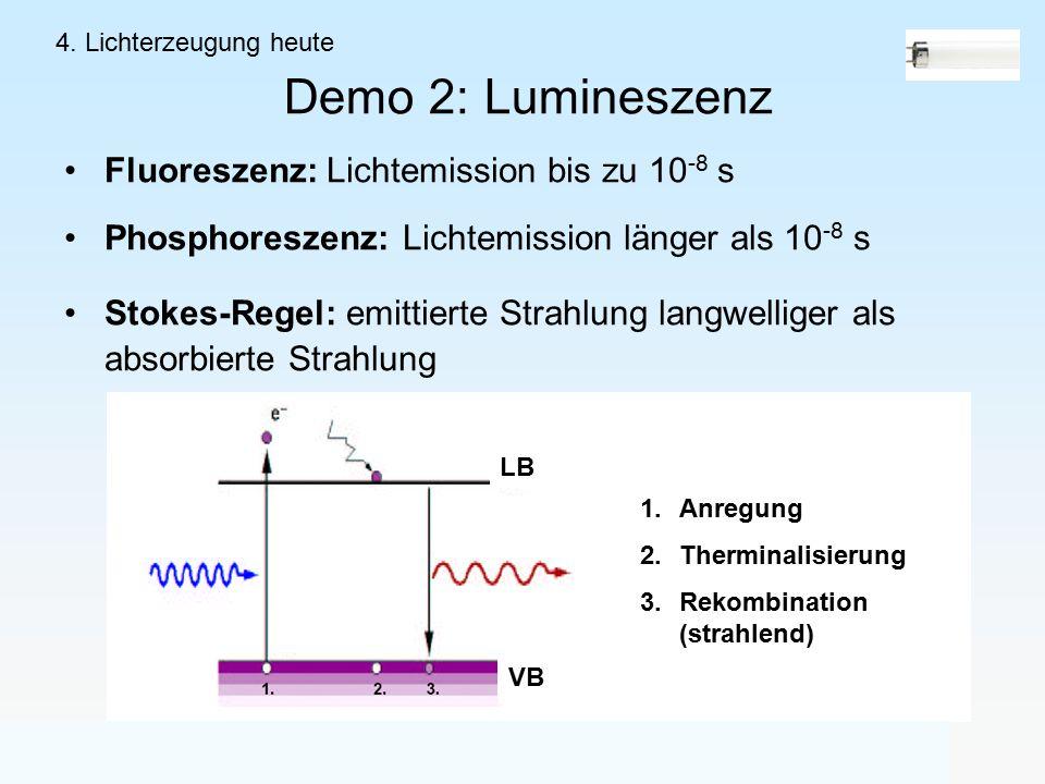 Demo 2: Lumineszenz Fluoreszenz: Lichtemission bis zu 10 -8 s Phosphoreszenz: Lichtemission länger als 10 -8 s Stokes-Regel: emittierte Strahlung langwelliger als absorbierte Strahlung 4.